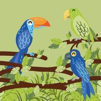 papagaios tropicais no galho vetor