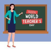 feliz dia dos professores e professora jovem com quadro-negro vetor
