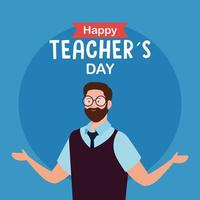 feliz dia dos professores, com homem professor vetor