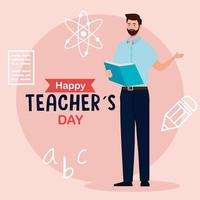 feliz dia dos professores e homem professor lendo livro com ícones de educação vetor