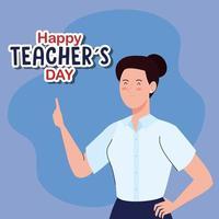 feliz dia mundial dos professores e professora jovem vetor