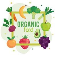 banner com alimentos orgânicos, frutas e vegetais, conceito de alimentos saudáveis vetor