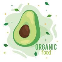 banner de alimentos orgânicos, abacate fresco e saudável, conceito de comida saudável vetor