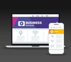 mockup responsive web, conceito de desenvolvimento de site em laptop e smartphone vetor