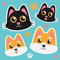 Etiquetas bonitos da cara do gato e do Dogl vetor