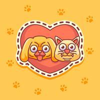 etiquetas do gato e do cão vetor