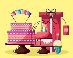 bolos de aniversário e cupcake vetor