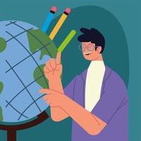 professor com mapa e lápis vetor