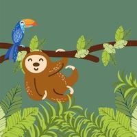 preguiça e papagaio no galho vetor