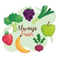 banner, frutas e legumes sempre frescos, conceito de comida saudável vetor