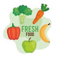 banner de alimentos frescos, frutas e vegetais, conceito de comida saudável vetor