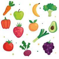conjunto de vegetais e frutas, conceito de comida saudável vetor