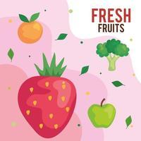 banner com frutas frescas e brócolis, conceito de comida saudável vetor