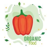 banner de alimentos orgânicos, pimenta fresca e saudável, conceito de comida saudável vetor