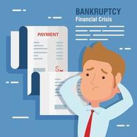 banner falência crise financeira, com empresário e comprovante de recebimento vetor