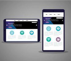 mockup responsive web, desenvolvimento de site de conceito em smartphone e tablet vetor