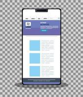 mockup responsive web, conceito de desenvolvimento de site em smartphone vetor
