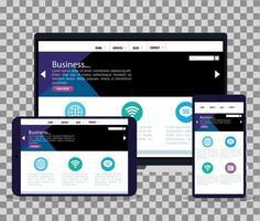 mockup responsive web, desenvolvimento de site de conceito em laptop, tablet e smartphone vetor