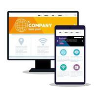 mockup responsive web, desenvolvimento de site de conceito em computador desktop e smartphone vetor