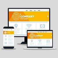 mockup responsive web, desenvolvimento de site de conceito em computador desktop, smartphone e laptop vetor