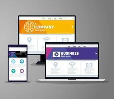 mockup responsive web, desenvolvimento de site de conceito em computador desktop, laptop e smartphone vetor