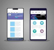 mockup responsive web, conceito de desenvolvimento de sites em diferentes smartphones vetor