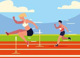 atletismo homem e mulher vetor