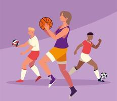 pessoas com bolas praticando esportes vetor