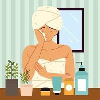 mulher com cosméticos fazendo cuidados com a pele vetor