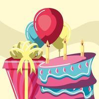 bolo de aniversário e presente vetor