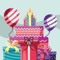 bolo de aniversario e velas vetor