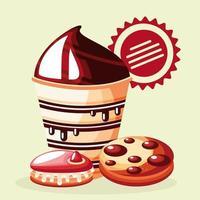 sobremesa, biscoitos e queque vetor