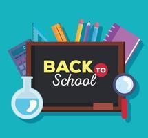 faixa de volta às aulas com quadro-negro e materiais educacionais vetor