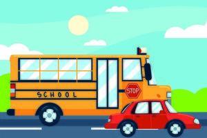 ônibus escolar e carro vetor