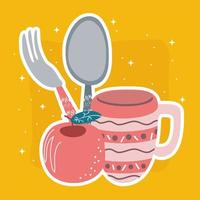 xícara, maçã e talheres vetor
