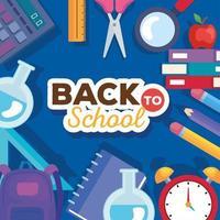 faixa de volta às aulas com conjunto de materiais educacionais vetor