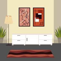 gavetas de casa e carpete vetor