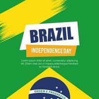 bandeira da celebração da independência do Brasil, com decoração do emblema da bandeira de ícones vetor