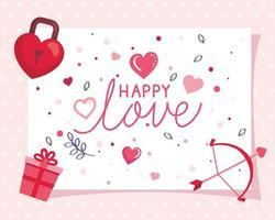 cartão de feliz dia dos namorados com decoração vetor