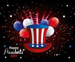 feliz dia do presidente com cartola e balões de hélio vetor