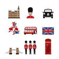pacote de ícones da cultura da Grã-Bretanha vetor