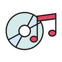 música disco compacto som linha de festa e estilo de preenchimento vetor