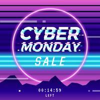 Cyber Monday Vaporwave Glitch Template Social Media
