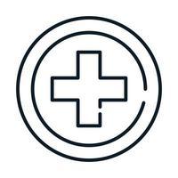 ícone de linha de serviço cruzado médico de saúde vetor