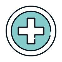 linha de serviço cruzado médico de saúde e preencher vetor