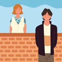 jovem mulher e homem vetor