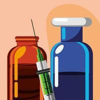frasco de vacina, seringa e medicamento vetor
