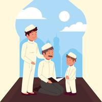 homem muçulmano explica o Alcorão vetor