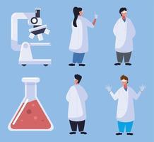 médicos, microscópio e frasco vetor