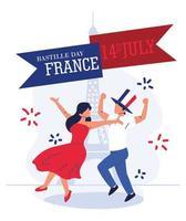 dia da bastilha na França vetor